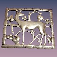 A classic Sterling floral deer brooch ca 1940s