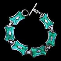 A modernist style  800 silver Kelly green enamel bracelet.
