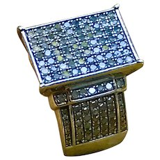 A contemporary sterling diamond pave fashion ring