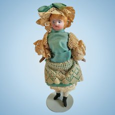 C. F. Kling Bisque Shoulderhead Dollhouse Doll Girl All Original Ca. 1880