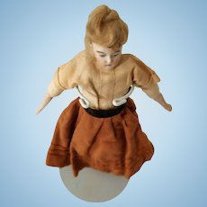 C. F. Kling Bisque Shoulderhead Dollhouse Doll All Original Ca. 1880