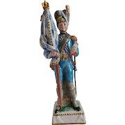 Capo di Monte Porcelain Napoleonic Military Flag Bearer Figurine