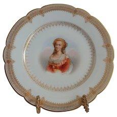"""19th C. Sevres Porcelain Cabinet Plate Of Marie Antoinette Chateau de St. Cloud 8.25"""""""