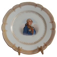 "Sevres Porcelain Cabinet Plate Of ""Louis  XVI"" Chateau de Saint Cloud"