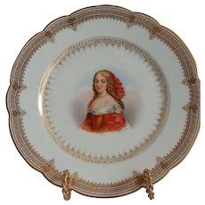 """Sevres Porcelain Cabinet Plate Of """"Mme de Montesfran"""" Chateau de Saint Cloud"""