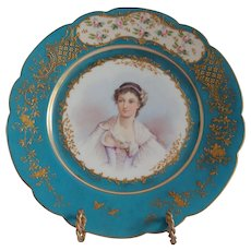 Sevres Porcelain Portrait  Plate Of Un-named Sitter Chateau des Tuileries