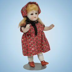 German All Bisque 5 Piece Doll With Glass Eyes
