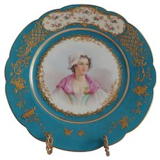 Sevres Porcelain Portrait  Plate Of Un-named Maiden Chateau des Tuileries