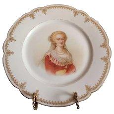 """19th C. Sevres Porcelain Cabinet Plate Of Marie Antoinette Chateau de St. Cloud 9.5"""""""
