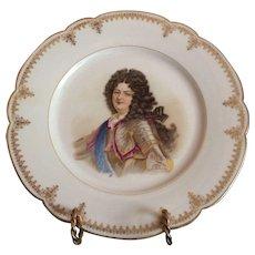 """19th C. Sevres Porcelain Cabinet Plate Of Louie XIV Chateau de Saint Cloud 9.5"""""""