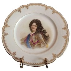 19th C. Sevres Porcelain Cabinet Plate Of Louie XIV Chateau de Saint Cloud 9.5""
