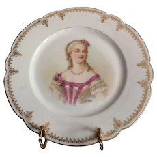 """Sevres Porcelain Cabinet Plate Of Mme Du Barry Chateau de Saint Cloud 9.5"""""""