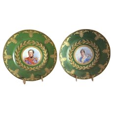 "Sevres ""Manufacture Imperiale"" 1804 Cabinet Plates of Elisa Bonaparte and Eugene Beaurharnais"