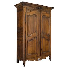 Walnut French Provencal Louis XV Armoire