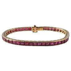 French No Heat Ruby 10.78 Cttw 18k Bracelet