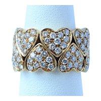 18K French 3.23 Ct VS Diamond Hearts Flexible Ring