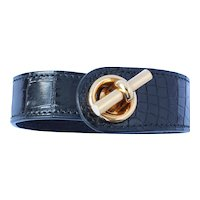 Hermes 18K Gold Leather Bracelet