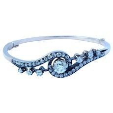 Antique Russian 14K Gold 4.51 Ct Diamond Bangle Bracelet