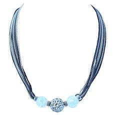 David Yurman  Tapestry 1cttw Diamond Silver Quartz Multi Strand Necklace