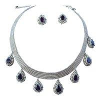 Antique Garnet Seed Pears Silver Vermeil Choker Necklace Earrings Set German