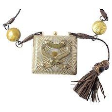 Bottega Veneta Sterling Silver Enamel Purse Necklace 214g