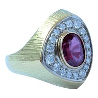 Danish 18K Gold 1.58ct No Heat Red Ruby Diamond Ring