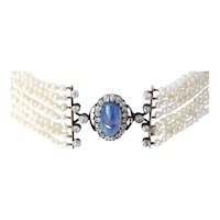 Victorian Diamond necklace No Heat 3.75 Ct Star Sapphire Natural Saltwater Pearl