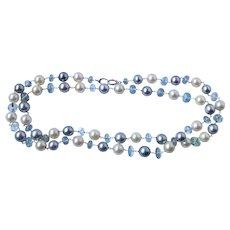 "Tahitian Pearl Aquamarine 18k Gold Necklace 32"""