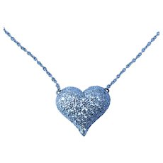 Tiffany and Co. Platinum 1.09 Cttw Puffy Heart Diamond Necklace