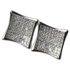 18k Gold Invisibly Set 2.8 CTTW VS Diamond Earrings