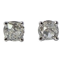 1.5 CTTW VS F 14k Gold Old Mine Cut Diamond Earrings
