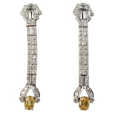 Platinum Diamond Yellow Sapphire Earrings Ca. 1960