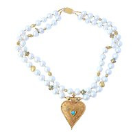Ladies Pearl Turquoise and 18K Yellow Gold Necklace 142 Grams