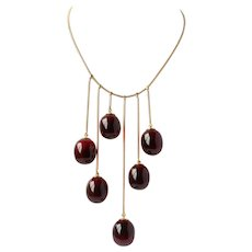 Baccarat 18K Gold Red Glass Necklace 58.5 Grams