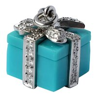 Tiffany & Co Platinum 0.67 CTTW Diamond Turquoise Giftbox Pendant