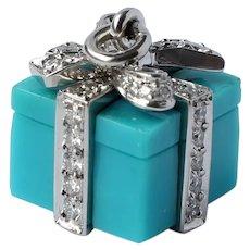 Tiffany & Co Platinum 0.67 CTTW Diamond Turquoise Giftbox Pendant
