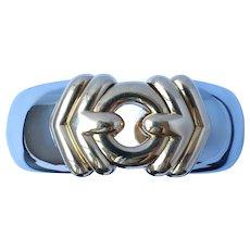 Bvlgari 18K Gold Steel Cuff Bracelet 70g