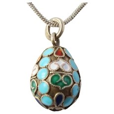 Antique Russian Silver Enamel 88 Zolotnik Egg Pendant