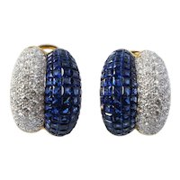 18K Gold 9.83 CTTW VVS Diamond Sappire Earrings