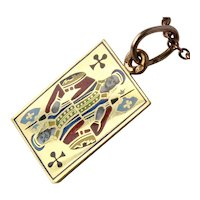 Antique Russian Faberge Enamel Jack of Clubs Pendant 14K Gold 56 Zolotniks