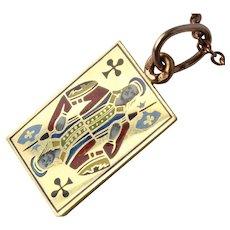 Antique Russian Faberge Enamel Jack of Clubs Pendant 14K Gold 56 Zolotniks