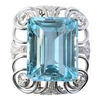 Platinum Topaz Old European Diamond Brooch Pendant 54 Grams