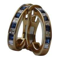 18K Gold VS Diamond Sapphire Hoop Earrings