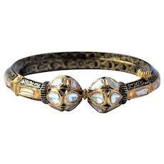 Antique 18K Gold Diamond Enamel Mughal Bracelet