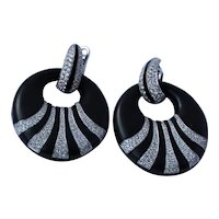 Enigma Bulgari 18K 2.5 cttw Diamond Enamel Earrings convertible