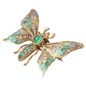 Antique 14K Emerald Diamond  Plique-à-Jour Enamel En Tremblant Butterfly Brooch