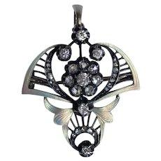 Antique Russian 14k Gold Enamel Diamond Pendant