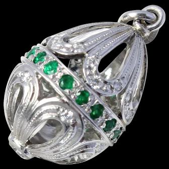 Rare Platinum Faberge Victor Mayer 11/200 Diamond Emerald Egg Pendant