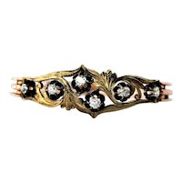 Antique Russian 14K Gold Diamond Bracelet 38 grams