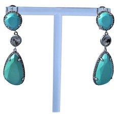 14K Gold Turquoise Diamond Earrings